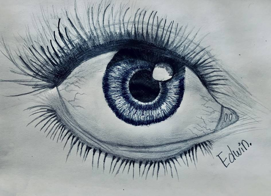 Detailed study of expressive eye in ink by Edwin Rivas