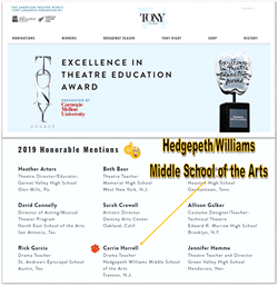 Hedgepeth/Williams Drama Teacher Receives 2019 Tony Awards Honorable Mention